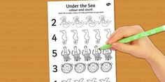 Under the Sea Themed Count and Colour Sheet - counting, colouring