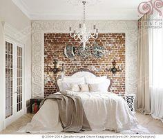 Контраст: Грубая кирпичная кладка и рафинированный декор спальни http://www.ok-interiordesign.ru/blog/loft-i-ampir-v-interyere-spalni.html