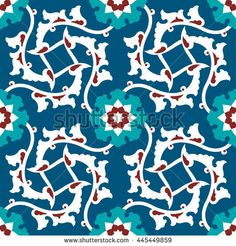 Arabic Floral Seamless Pattern. Traditional Arabic Islamic Background. Mosque decoration element.