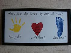Redesigned something else I saw on pinterest...my daughter's handprint, son's footprint, painted heart and a favorite verse :)