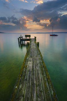 Jetty at Lake Ammersee, Bavaria, Germany.
