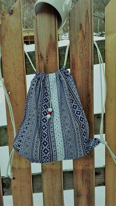 BackPack/Batoh/Vak - modro - biely folk cifrovaný / LuJo - SAShE.sk - Handmade Batohy Folk, Backpacks, Summer Dresses, Skirts, Fashion, Moda, Popular, Summer Sundresses, Skirt