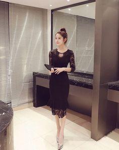 Hollow lace stitch Slim fishtail dress