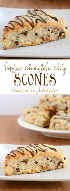 Recipe for yummy toffee chocolate chip scones. Loaded with chocolate chips and t Recipe for yummy toffee chocolate chip scones. Loaded with chocolate chips and toffee these are some of the most decadent scones you will ever eat! Source by cleanscentsible Chocolate Toffee, Chocolate Chips, Chocolate Cookies, Melted Chocolate, Chocolate Brownies, Just Desserts, Dessert Recipes, Baking Scones, Bread Baking