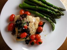 EAT.DRINK.THINK.: Halibut WIth Capers, Olives, and Tomatoes