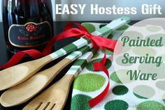 DIY Gifts | All it takes is paint to turn wooden utensils into a fun and fabulous hostess gift!