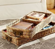 Caden Square Ottoman Basket #potterybarn need something like this for the basement ottoman