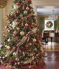 Beautiful ribbons and ornaments decorate this Christmas Tree.