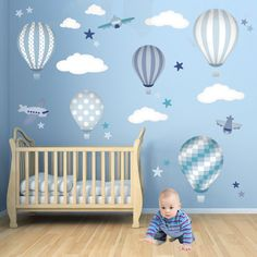 Hot Air Balloon Wall Decals featuring planes white clouds and stars. Baby boys wall stickers. Blue nursery decor. Trending now 2016 (74.95 GBP) by EnchantedInteriorsUK