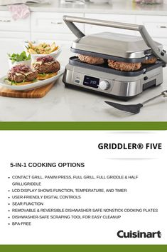 With cooking options, griddle, grill and sear delectable recipes with Cuisinart's Griddler® FIVE! It's a must-have appliance this Easy Cake Recipes, New Recipes, Vegetarian Recipes, Cooking Recipes, Healthy Recipes, Recipies, Kitchen Items, Kitchen Products, Kitchen Supplies