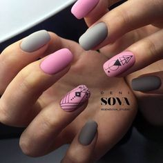It is gray and pink nail polish. Geometric manicure.