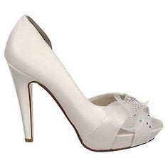 Liz Rene Paulette Dyeable White Satin Crystal Wedding Bridal High Heel Pump Shoe