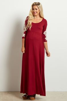 Burgundy Crochet Sleeve Maxi Dress