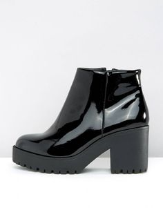 73d38115895 Shop New Look Wide Fit Chunky Patent Faux Leather Ankle Boot at ASOS.