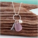 Lighthouse & Lavender Beach Glass Charm Necklace from A Day at the Beach Fine Sea Glass Jewelry!!!!