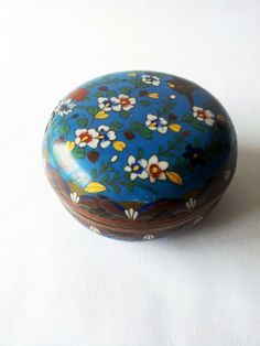 Vintage Enameled Blue Round Trinket Box by PetitesChosesDeLaVie, $14.00