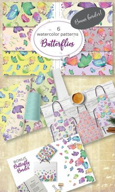Set of 6 watercolor patterns designed with colorful butterflies; Butterfly Watercolor, Watercolor Pattern, Butterfly Pattern, Butterflies, Pattern Design, Scrapbook, Patterns, Paper, Crafts