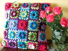 Granny square & flowers pillow #crochet