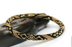 """Купить Жгут- колье из японского бисера """"Танго в золотом"""" - черный золотой, жгут из бисера"""