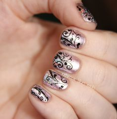 Essie Nothing Else Metals and Color Club Sugar Plum Fairy with black stamping
