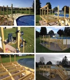 If you have a beautiful above ground pool then you need pool deck to go with it. Here are the plans for building a DIY pool deck. Pool Deck Plans, Pergola Plans, Pergola Ideas, Diy Pergola, Pergola Swing, Metal Pergola, Pergola Kits, Backyard Ideas, Swimming Pool House