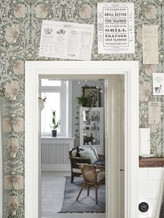 William Morris Pimpernel wallpaper in Bay Leaf/Manilla Decor, Morris Wallpapers, William Morris Wallpaper, Home, Scandinavian Home, My Scandinavian Home, House Inspiration, House Interior, Swedish Kitchen