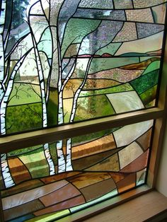 Close up of Silver Birches panel