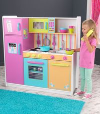 Large kids wooden toy kitchen in fun, bright fluro colours. Sturdy with lots of fun features.
