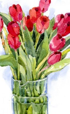 Tulips - Shari Blaukopf I like the glass (Magda) Watercolor Illustration, Watercolour Painting, Watercolor Flowers, Watercolours, Art Floral, Art Aquarelle, Guache, Red Tulips, Learn To Paint