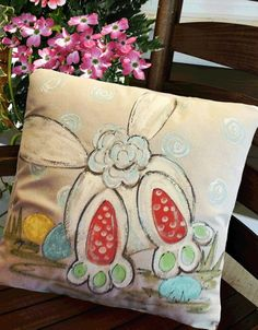 Bunny Tail Easter Pillow, Easter Decorations, Spring and Summer Pillows, Hand-painted, Pillow Cover Whimsical+Easter+Easter+Decorations+Spring+by+SippingIcedTea Easter Art, Hoppy Easter, Easter Crafts, Easter Ideas, Easter Decor, Easter Bunny, Easter Paintings, Canvas Paintings, Easter Pillows
