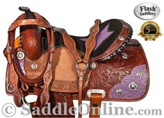 Only $449.99! Gorgeous and beautiful, you will not be able to find another saddle like this one. Made with only the best quality in mind, this saddle has 100% thick, premium quality leather. The leather is accented by the rough out jockeys and the hand carved tooling. The underneath of the saddle has a premium, thick fleece that is heavily padded for the horse's comfort. The black suede, padded seat features a star pattern with ostrich print.