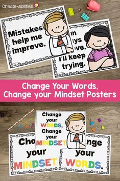 Growth Mindset Posters Change Your Words Change Your Mindset 5th Grade Classroom, Classroom Ideas, Growth Mindset Posters, Sixth Grade, Second Grade, Leader In Me, Counseling Activities, Change Your Mindset, Too Cool For School
