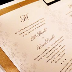 Snowflake Monogram Custom Unique Wedding Invitation Elegant Flourish Initial Formal Lace Holiday Party Christmas Winter Liner Snowflake Lace