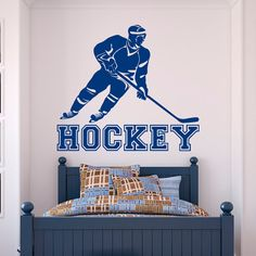 Hockey Wall Decal Sports- Sports Wall Decal Stickers Hockey Player Teens Boys Room Bedroom Dorm College Wall Art Decor- Boy Wall Decal Q127
