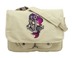 Mermaid Muerta Embroidered Canvas Messenger by JumpingJackalope