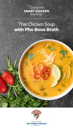 Enhance your meals with Organic Smart Chicken Bone Broth! Pick from four savory flavors including Classic, Mushroom, Garlic Rosemary and Pho. Available online at Shop.SmartChicken.com. Easy Casserole Recipes, Soup Recipes, Whole Food Recipes, Cooking Recipes, Thailand Recipes, Foods For Bloating, Hot And Sour Soup, Curry Noodles, Coconut Milk Recipes