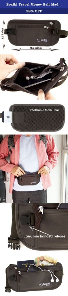 Boxiki Travel Money Belt Made of Premium Nylon with Rfid Blocking. Safe Waist Bag, Secure Belt for Men and Women. Fits Passport, Wallet, Phone and Personal Items (Brown). The RFID Travel Money Belt by Boxiki Travel is the ultimate theft protection and security accessory for safe travel. Keeps your most important items safe and organized, including passport, tickets, cash, credit cards, receipts and phone. Two outer pockets and one hidden pocket provide plenty of room for everything you…