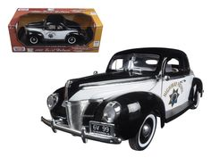 """1940 Ford Coupe Deluxe California Highway Patrol CHP """"Timeless Classics"""" 1/18 Diecast Model Car by Motormax - Brand new 1:18 scale diecast model car of 1940 Ford Coupe Deluxe California Highway Patrol CHP """"Timeless Classics"""" die cast car model by Motormax. Has steerable wheels. Brand new box. Rubber tires. Has opening hood, doors and trunk. Made of diecast with some plastic parts. Detailed interior, exterior, engine compartment. Dimensions approximately L-10,W-4,H-3,5 inches. Please note…"""