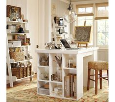I'm dreaming up a home office today friends! I'm sharing some Home Office inspiration with you because it is my dream space in my new home. A home office just for me! Decor, Scrapbook Room, Craft Room Office, Interior, Home, Furniture Upholstery, Cube Storage, Craft Room Tables, Project Table