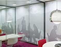Greyscale graphics that sit on frames so you can replace and exchange images  Design and Specify, office design, office furniture, partitioning, office partitions, Leeds, Yorkshire, training room, office, break out, dining, reception, meeting room, furniture,