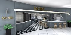 """Concept for """"More Bistro"""" in Thessaloniki, Greece Thessaloniki, Kitchen Island, Greece, Concept, Interiors, Home Decor, Island Kitchen, Greece Country, Decoration Home"""