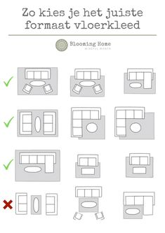 Zo kies je het juiste formaat vloerkleed voor de woonkamer Different living room layouts with couch, coffee table and armchair with examples of how you can best lay down a rug.