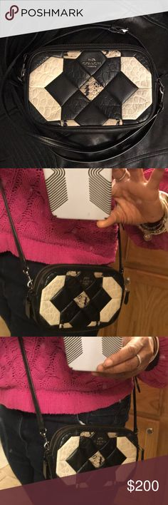 Cute black/cream Coach Canyon Quilt crossbody!😍 Very nice black/cream crossbody in the popular Canyon Quilt pattern. I love this little bag but it's too small for me. It barely fits my iPhone 7 Plus in a thin case. You can also carry a lipstick and keys, and some cards; but not much else. VERY SMALL interior! 24 inch strap, can be shortened. Two sided zipper compartments. No longer being sold by Coach so get it here!! EUC, only worn one season! 🚫No trades, PP, Merc, lowballing, etc. Thank…