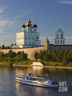 Russia, Pskovskaya Oblast, Pskov of Pskov Kremlin from the Velikaya River Photographic Print by Walter Bibikow at Art.com