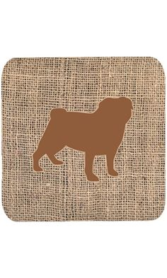 "Caroline's Treasures BB1112-BL-BN-FC Pug Burlap and Brown Foam Coasters (Set of 4), 3.5"" H x 3.5"" W, Multicolor Best Price"