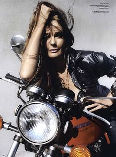 Model on a Honda Super Sport, cool bike, bikergirl, motorchick, leather