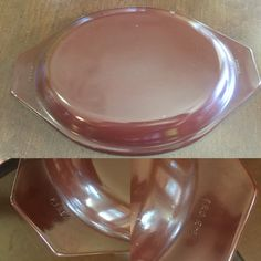 Vintage PYREX 945 C Cinderella Oval lid.  Fits 1.5 qt.  Opal underside.  Original lid for Old Orchard. Brown fired Opal lid.