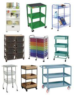 Storage Where You Need It:   Rolling Utility Carts: could do this with arts and suchness to hide in the closet then wheel out when its wanted.