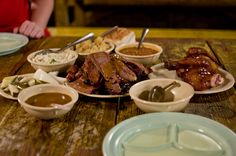 Salt Lick BBQ.  Family style, the way to go, they just keep bringing meat.   *slurp*
