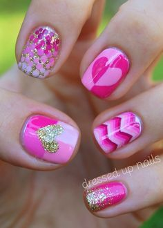 cute pink nails! A little busy for my taste, but I could do one accent.